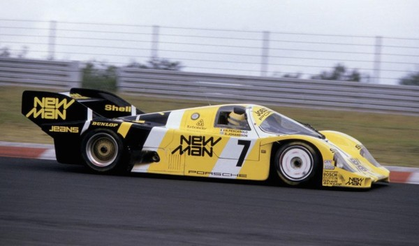 Ayrton Senna driving a Porsche 956 at the Nürburgring