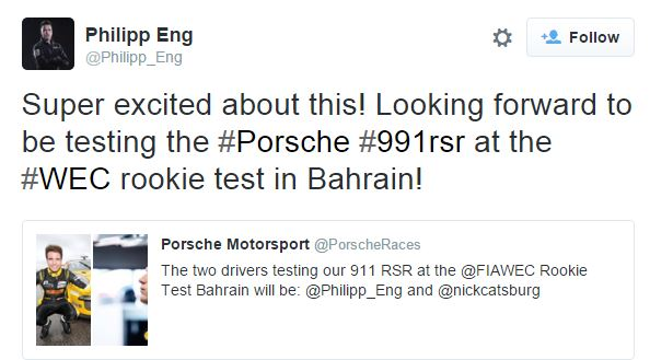 2015 Porsche Test announcment