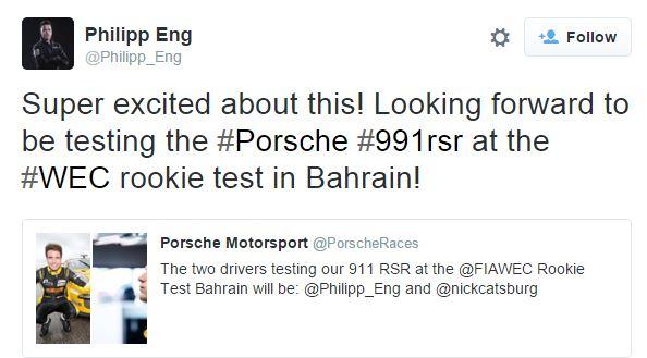 2015 Porsche Test announcment