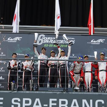 Podium celebrations at the FIA WEC 6 Hours of Spa-Francorchamps 2018