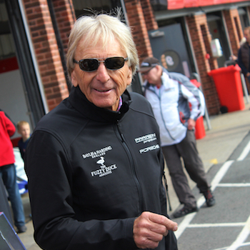 Derek Bell in the paddock at Brands Hatch