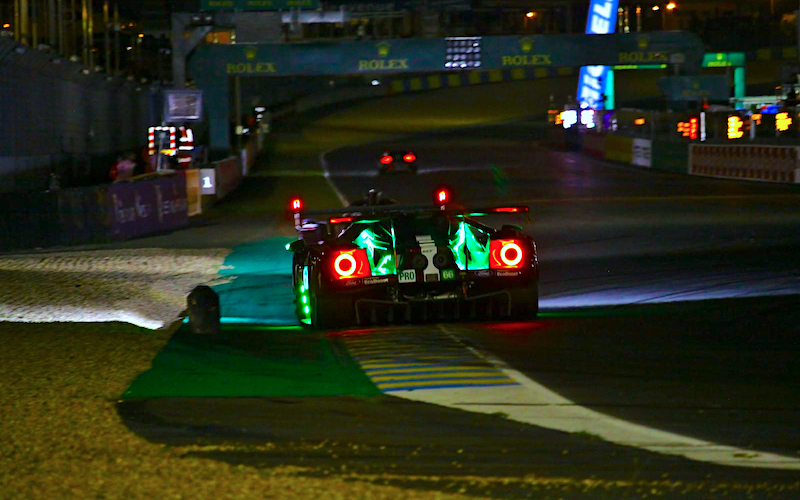 The Ford GT at night at Le Mans