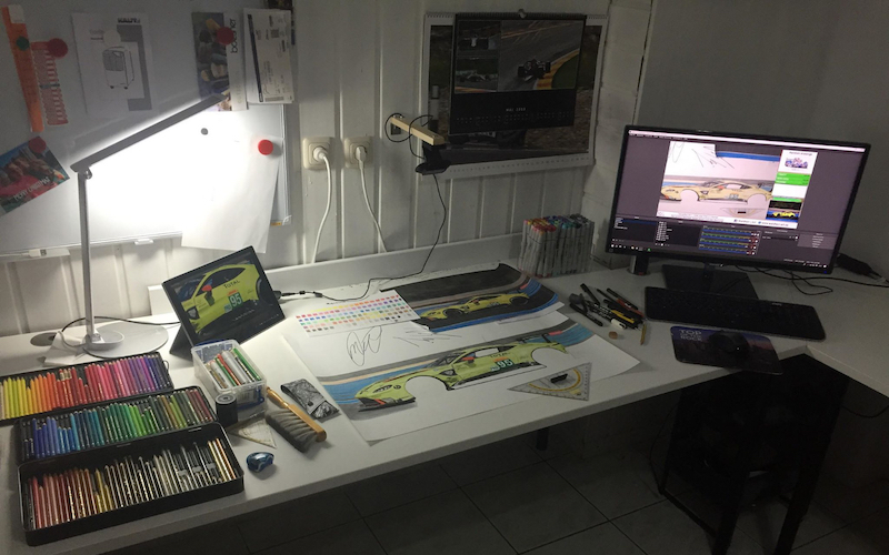 The office of Stefan Waldherr for the 24 Hours of Le Mans Challenge