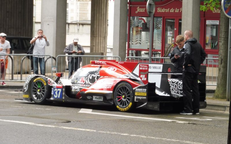 #37 Jackie Chan DC Racing Oreca 07 Gibson at the at Sunday scrutineering at the 2018 24 Hours of Le Mans