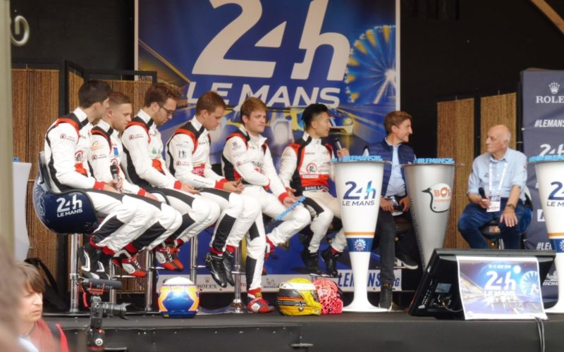 Drivers on stage at Sunday scrutineering at the 2018 24 Hours of Le Mans