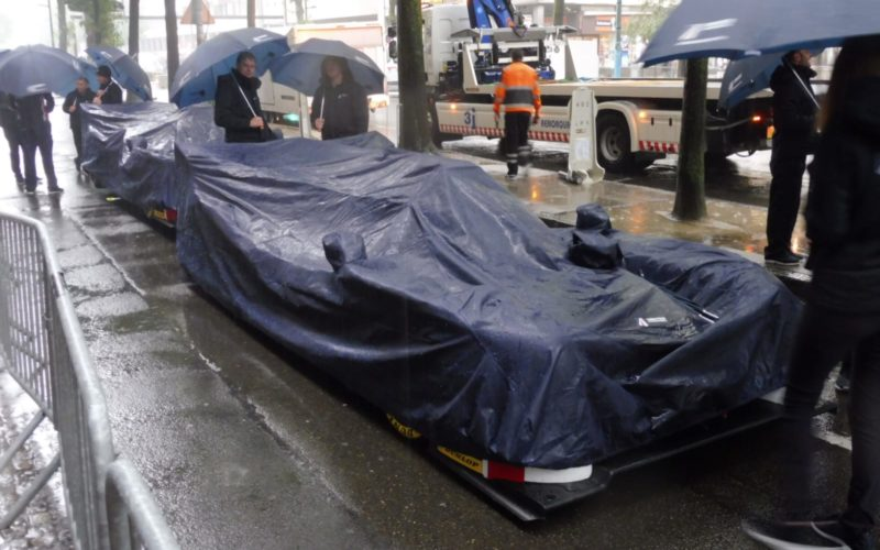 Scrutineering: Cars protected from the rain at scrutineering for the 2018 24 Hours of Le Mans