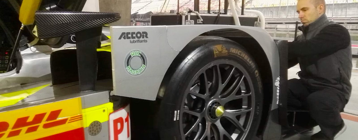 The WEC-Magazin Logo at the LMP1-car form ByKolles Racing at the 6 Hours of Shanghai