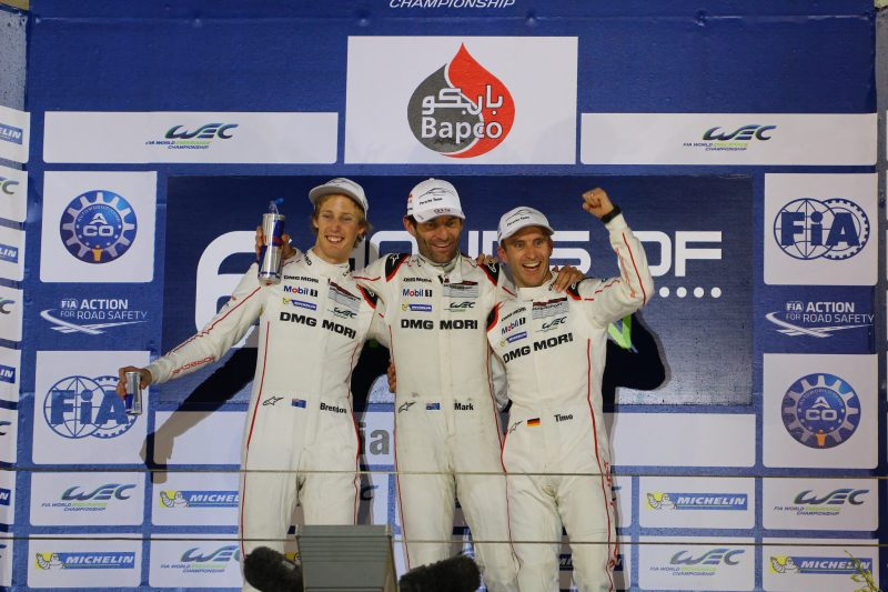 Champions: Brendon Hartley, Timo Bernhard and Mark Webber in 2015