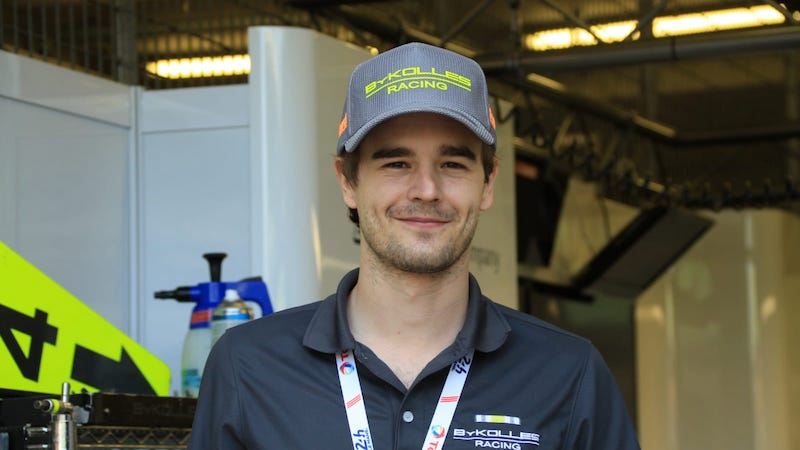 Tom Dillmann with the current ByKolles Racing team cap