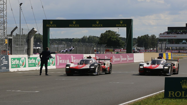 The #7and #8 Toyota GR010 Hybrids crossing the finish line at the 2021 24 Hours of Le Mans
